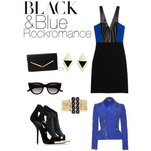 Blau und Schwarz Outfit